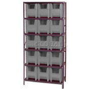 Quantum QSBU-600 Shelving With 15 Giant Hopper Bins Gray, 36x18x75