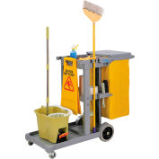 Global™ Janitor Cart Gray with 25 Gallon Vinyl Bag