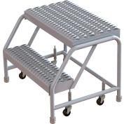 "2 Step Aluminum Rolling Ladder, 24""W Grip Step, W/O Handrails"