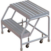 "2 Step Aluminum Rolling Ladder, 24"" W Ribbed Step, W/O Handrails"