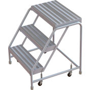 "3 Step Aluminum Rolling Ladder, 24""W Ribbed Step, W/O Handrails"