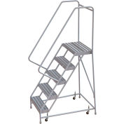 "5 Step Aluminum Rolling Ladder, 24""W Ribbed Step, 30"" Handrails"