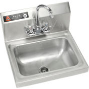 "Aero Wall Mount Stainless Steel Hand Sink 14""Lx10""Wx5""D Basin w/7"" Gooseneck Faucet 8"" Backsplash"