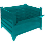 """Global Industrial™ Stackable Steel Container W/Drop Gate, 42""""Lx42""""Wx24""""H, Green"""