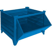 """Global Industrial™ Stackable Steel Container W/Hopper Front, 48""""Lx42""""Wx24""""H, Blue"""