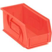 """LEWISBins Plastic Stacking Bin PB74-3 - 4-1/8""""W x 7-3/8""""D x 3""""H, Red - Pkg Qty 24"""