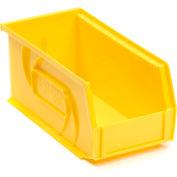 """LEWISBins Plastic Stacking Bin PB74-3 - 4-1/8""""W x 7-3/8""""D x 3""""H, Yellow - Pkg Qty 24"""