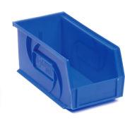 """LEWISBins Plastic Stacking Bin PB74-3 - 4-1/8""""W x 7-3/8""""D x 3""""H, Blue - Pkg Qty 24"""