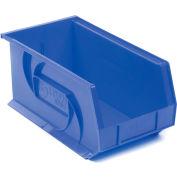 """LEWISBins Plastic Stacking Bin PB148-7 - 8-1/4""""W x 14-3/4""""D x 7""""H, Blue - Pkg Qty 12"""