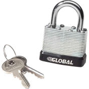 General Security Laminated Steel Padlock with Bumper and Two Keys - Keyed Different