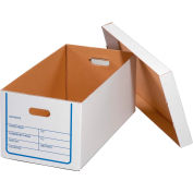 Corrugated Transfer File Record Storage Box With Lid 12x24x10 Pkg Of 20 Sets