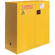 "Global&#8482 Flammable Cabinet - Manual Close Bi-Fold Single Door 30 Gallon - 43""W x 18""D x 44""H"