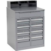 "Shop Desk with 9 Drawers - Gray 34.5""W x 30""D x 51.5""H"