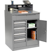 "Cabinet Shop Desk with 5 Drawers & Pigeonhole Compartment Riser 34-1/2""W x 30""D x 51-1/2""H - Gray"