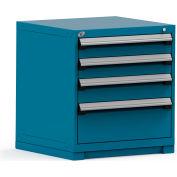 Rousseau Modular Storage Drawer Cabinet 30x27x32, 4 Drawers (3 Sizes) w/o Divider, w/Lock, Blue