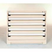 Modular Storage Drawer Cabinet 30x27x32, 5 Drawers (2 Sizes) w/o Divider, w/Lock, Beige
