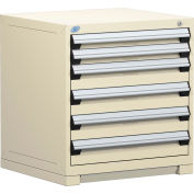 Rousseau Modular Storage Drawer Cabinet 30x27x32, 6 Drawers (2 Sizes) w/o Divider, w/Lock, Beige