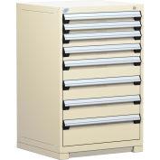 Rousseau Modular Storage Drawer Cabinet 30x27x40, 7 Drawers (4 Sizes) w/o Divider, w/Lock, Beige