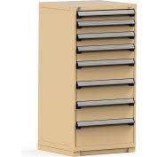 Rousseau Modular Storage Drawer Cabinet 30x27x60, 8 Drawers (5 Sizes) w/o Divider, w/Lock, Beige