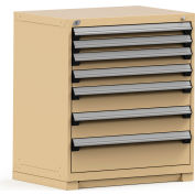 Rousseau Modular Storage Drawer Cabinet 36x24x40, 7 Drawers (4 Sizes) w/o Divider, w/Lock, Beige