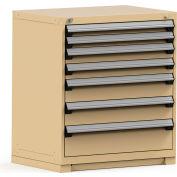 Rousseau Modular Storage Drawer Cabinet 36x24x40, 7 Drawers (4 Sizes) w/o Divider, w/Lock, Beige