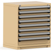 Rousseau Modular Storage Drawer Cabinet 36x24x40, 8 Drawers (2 Sizes) w/o Divider, w/Lock, Beige
