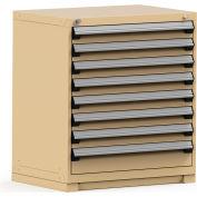 Rousseau Modular Storage Drawer Cabinet 36x24x40, 8 Drawers (2 Sizes) w/o Divider, w/Lock, Beige