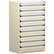 Rousseau Modular Storage Drawer Cabinet 36x24x60, 9 Drawers (1 Size) w/o Divider, w/Lock, Beige