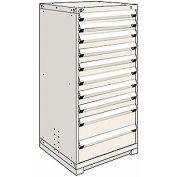 Rousseau Modular Storage Drawer Cabinet 36x24x60, 10 Drawers (3 Sizes) w/o Divider, w/Lock, Beige