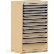 Rousseau Modular Storage Drawer Cabinet 36x24x60, 12 Drawers (4 Sizes) w/o Divider, w/Lock, Beige