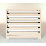 Rousseau Modular Storage Drawer Cabinet 48x24x32, 5 Drawers (2 Sizes) w/o Divider, w/Lock, Beige