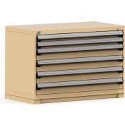 Rousseau Modular Storage Drawer Cabinet 48x24x32, 6 Drawers (2 Sizes) w/o Divider, w/Lock, Beige