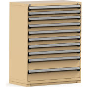 Rousseau Modular Storage Drawer Cabinet 48x24x60, 10 Drawers (3 Sizes) w/o Divider, w/Lock, Beige