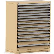 Rousseau Modular Storage Drawer Cabinet 48x24x60, 14 Drawers (3 Sizes) w/o Divider, w/Lock, Beige