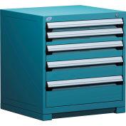 Rousseau Modular Storage Drawer Cabinet 30x27x32, 5 Drawers (5 Sizes) w/o Divider, w/Lock, Blue