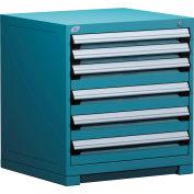 Rousseau Modular Storage Drawer Cabinet 30x27x32, 6 Drawers (2 Sizes) w/o Divider, w/Lock, Blue