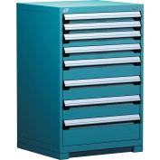 Rousseau Modular Storage Drawer Cabinet 30x27x40, 7 Drawers (4 Sizes) w/o Divider, w/Lock, Blue
