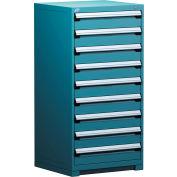 Rousseau Metal Modular Storage Drawer Cabinet 30x27x60, 9 Drawers (1 Size) w/o Divider, w/Lock, Blue