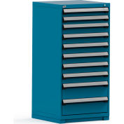 Rousseau Modular Storage Drawer Cabinet 30x27x60, 10 Drawers (3 Sizes) w/o Divider, w/Lock, Blue