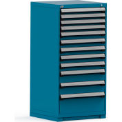 Rousseau Modular Storage Drawer Cabinet 30x27x60, 12 Drawers (4 Sizes) w/o Divider, w/Lock, Blue