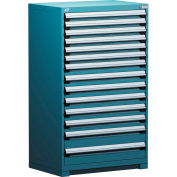 Rousseau Modular Storage Drawer Cabinet 30x27x60, 14 Drawers (3 Sizes) w/o Divider, w/Lock, Blue