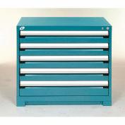 Rousseau Modular Storage Drawer Cabinet 36x24x32, 5 Drawers (2 Sizes) w/o Divider, w/Lock, Blue