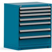Rousseau Modular Storage Drawer Cabinet 36x24x40, 7 Drawers (4 Sizes) w/o Divider, w/Lock, Blue