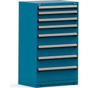 Rousseau Modular Storage Drawer Cabinet 36x24x60, 8 Drawers (5 Sizes) w/o Divider, w/Lock, Blue