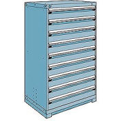 Rousseau Metal Modular Storage Drawer Cabinet 36x24x60, 9 Drawers (1 Size) w/o Divider, w/Lock, Blue
