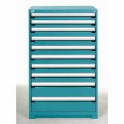 Rousseau Modular Storage Drawer Cabinet 36x24x60, 10 Drawers (3 Sizes) w/o Divider, w/Lock, Blue