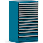 Rousseau Modular Storage Drawer Cabinet 36x24x60, 14 Drawers (3 Sizes) w/o Divider, w/Lock, Blue