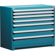 Rousseau Modular Storage Drawer Cabinet 48x24x40, 7 Drawers (4 Sizes) w/o Divider, w/Lock, Blue