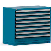 Rousseau Modular Storage Drawer Cabinet 48x24x40, 8 Drawers (2 Sizes) w/o Divider, w/Lock, Blue