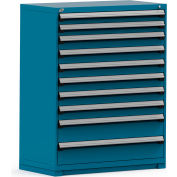 Rousseau Modular Storage Drawer Cabinet 48x24x60, 10 Drawers (3 Sizes) w/o Divider, w/Lock, Blue